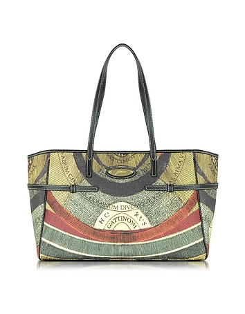 Gattinoni - Planetarium Coated Canvas Tote w/Leather Strips