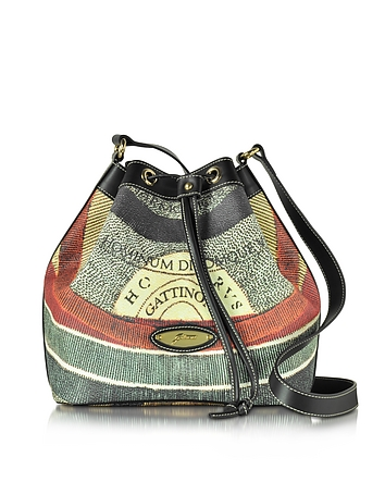 Planetarium Coated Canvas and Leather Bucket Bag