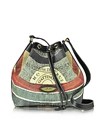 Gattinoni Planetarium Coated Canvas and Leather Bucket Bag ga130416-017-00