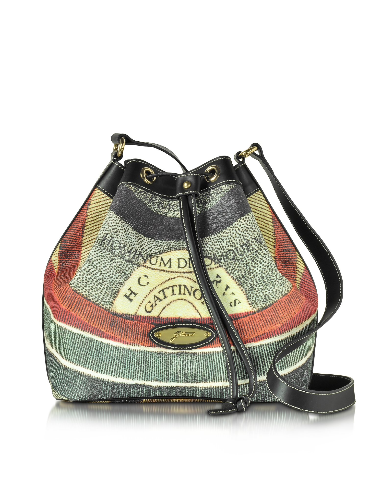 Gattinoni Handbags, Planetarium Coated Canvas and Leather Bucket Bag