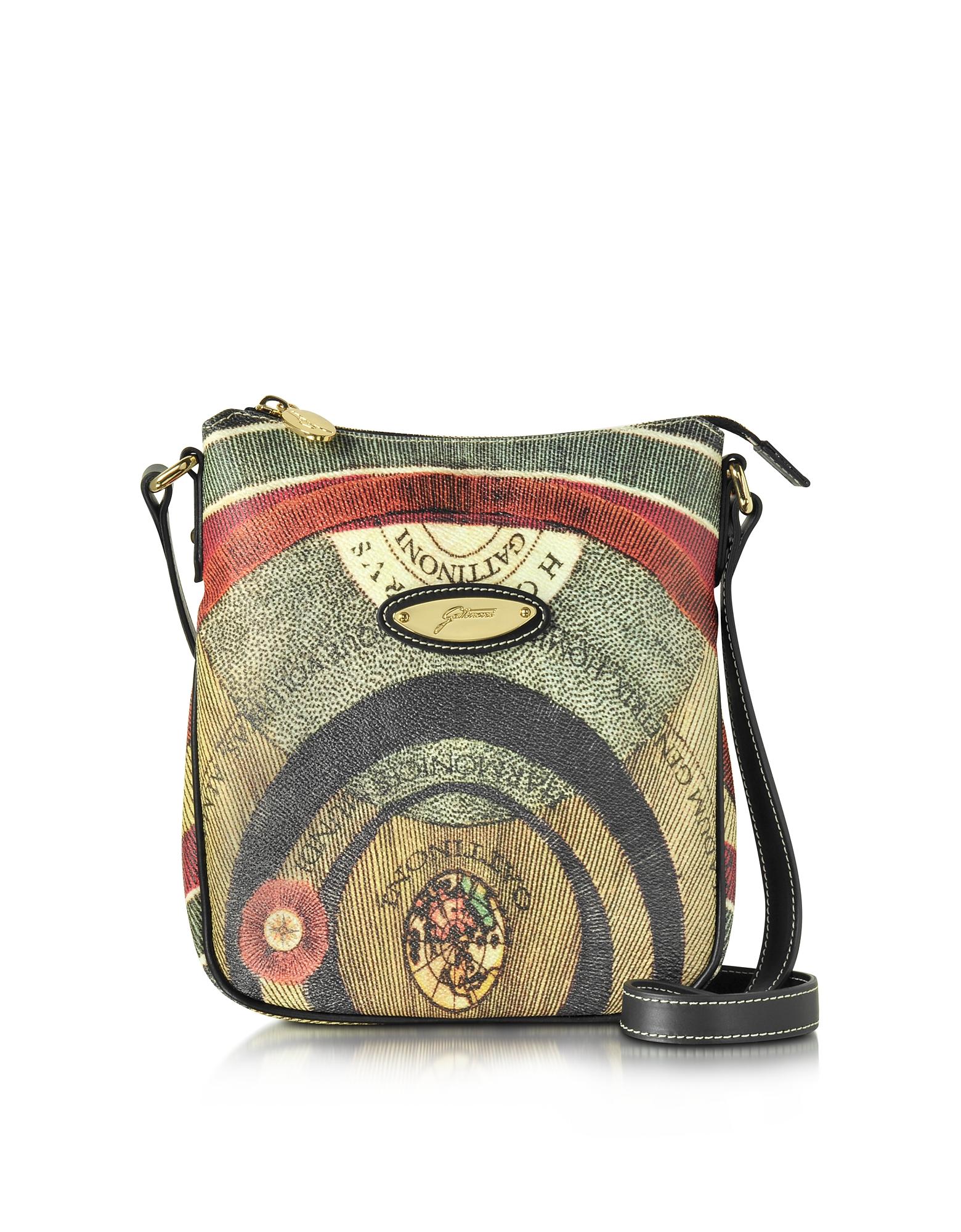 Gattinoni Handbags, Planetarium Coated Canvas and Leather Crossbody Bag