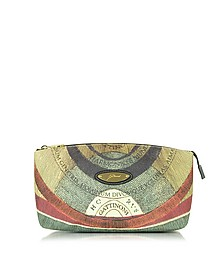 Planetarium Coated Canvas and Leather Medium Clutch - Gattinoni