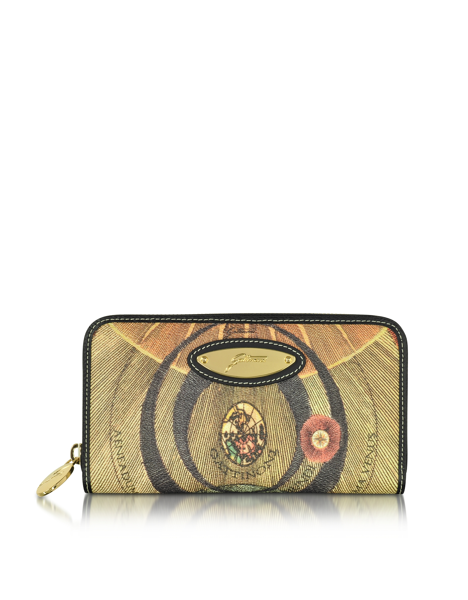Gattinoni Handbags, Planetarium Coated Canvas Zip Around Women's Wallet