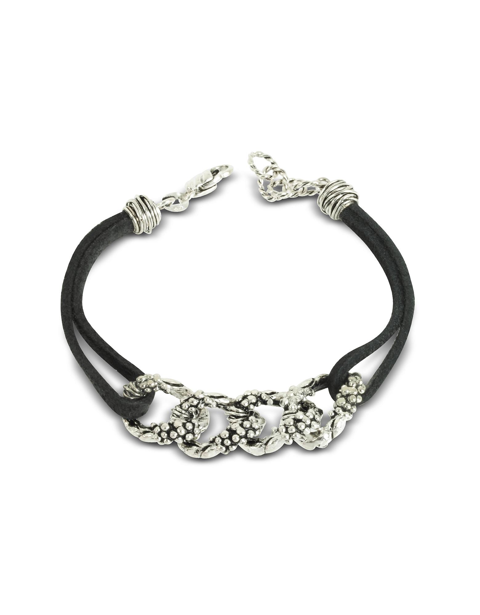 Giacomo Burroni Men's Bracelets, Leather Bracelet w/Links