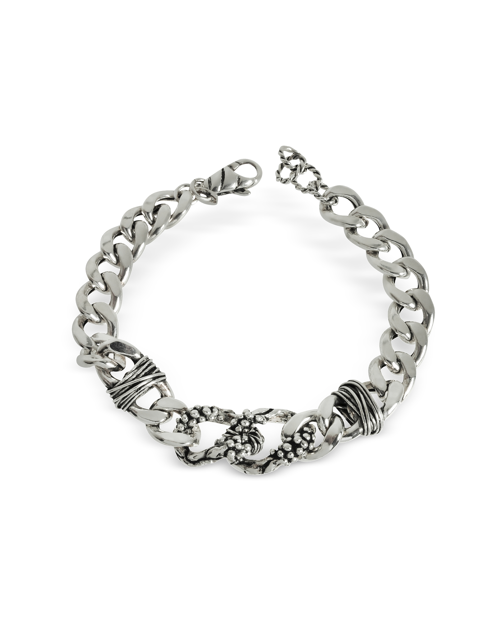 Giacomo Burroni Men's Bracelets, Chain Bracelet w/Etruscan Knots