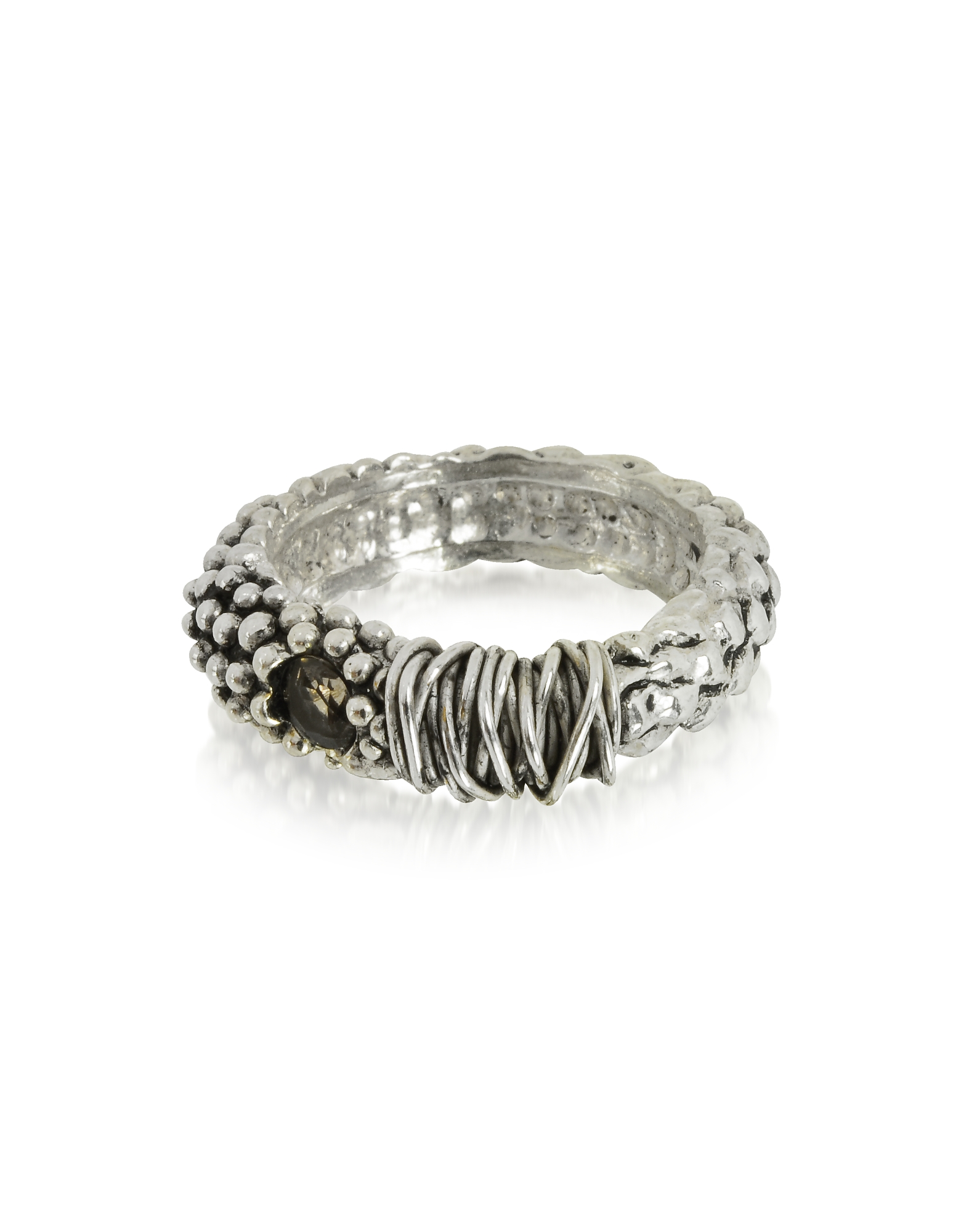 Giacomo Burroni Men's Rings, Sterling Silver Ring w/Crystal