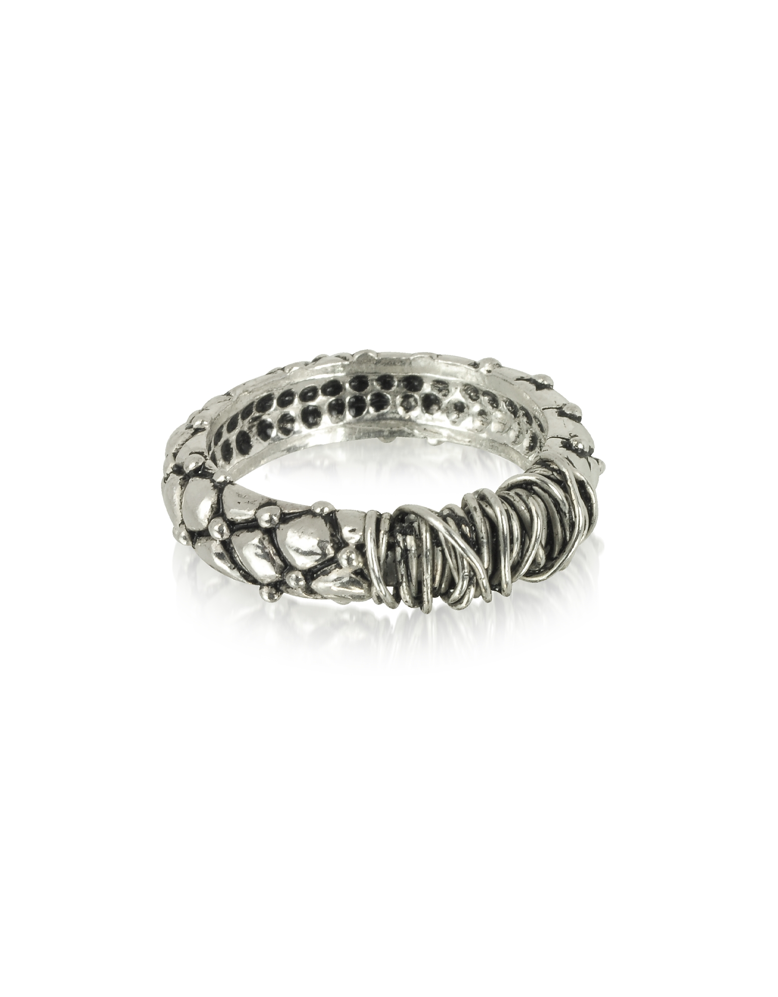 Giacomo Burroni Men's Rings, Sterling Silver Ring w/Etruscan Knot
