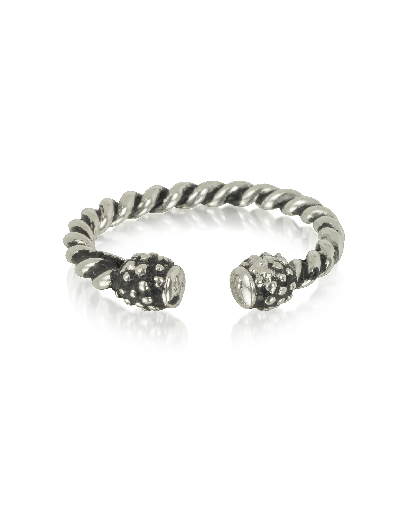 Giacomo Burroni Designer Men's Rings, Twisted Silver Ring