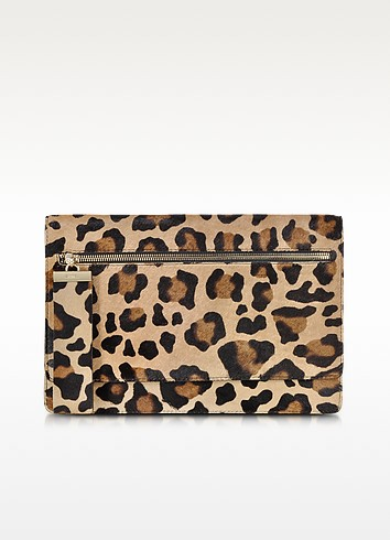 Allegra Animal Print Hair-calf Leather Clutch - Gerard Darel