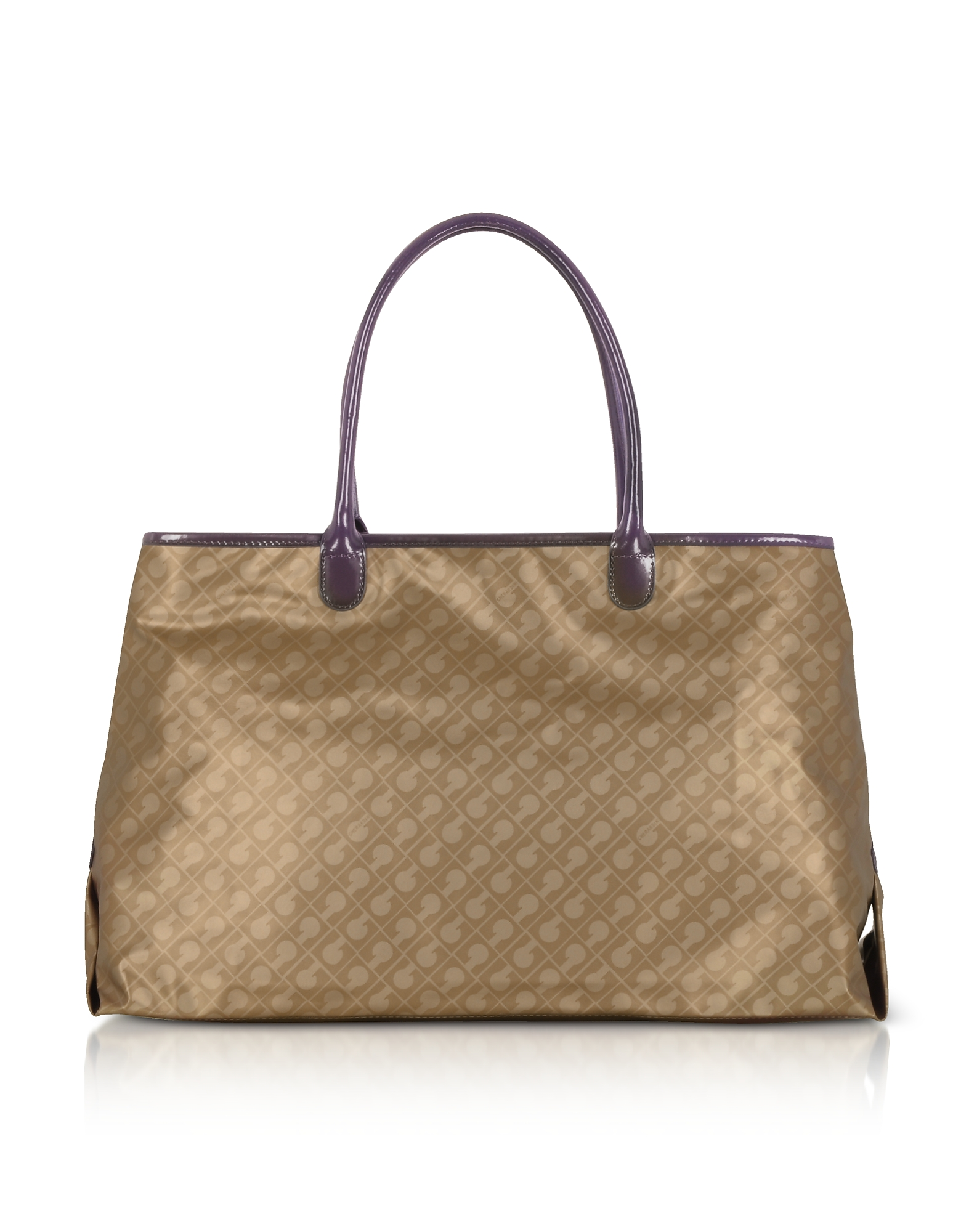 Image of Gherardini Designer Handbags, Hazelnut Signature Fabric Softy Tote w/Patent Leather Double Handles