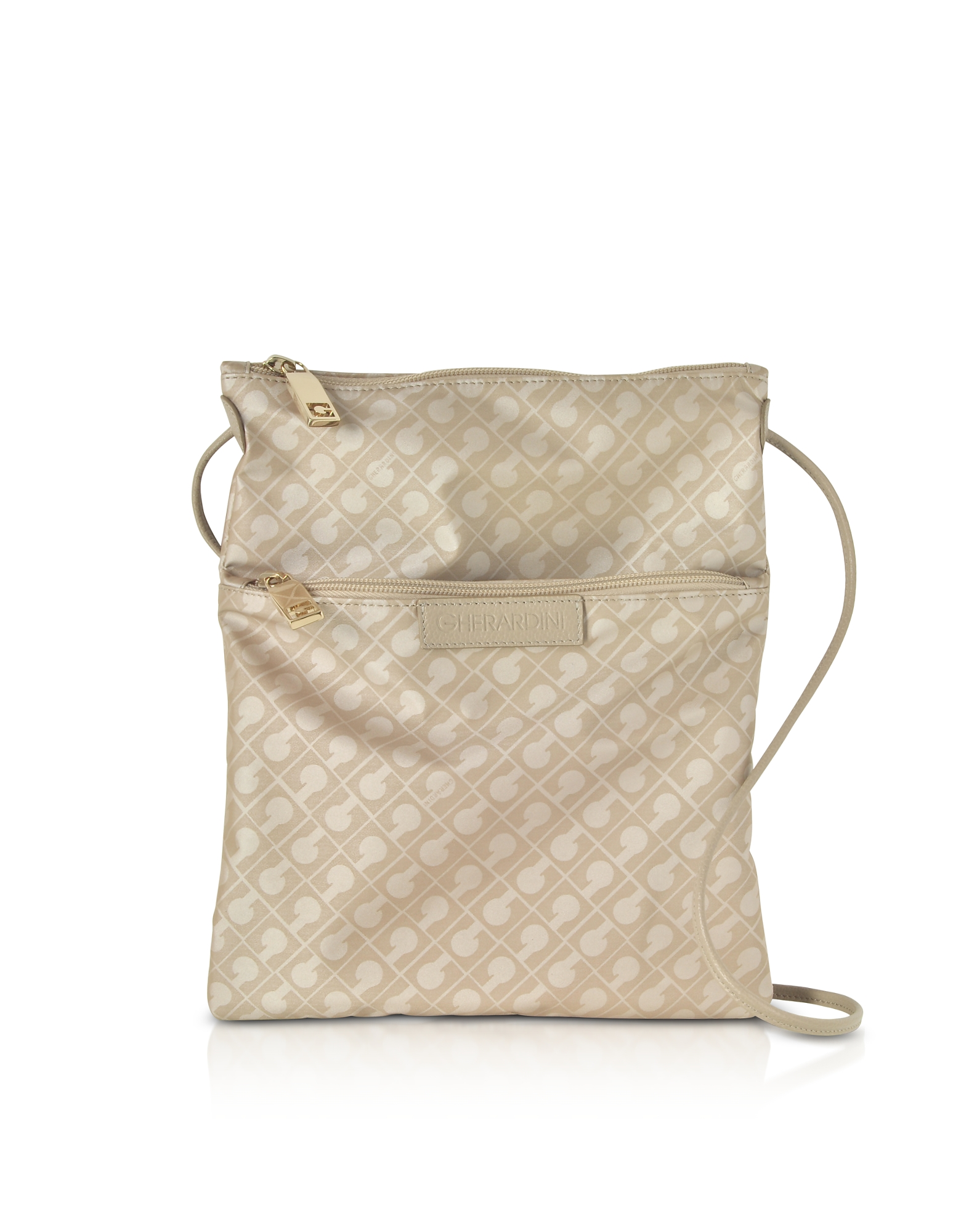 Image of Gherardini Designer Handbags, Clay Signature Fabric and Leather Softy Crossbody Bag w/Zip Front Pocket