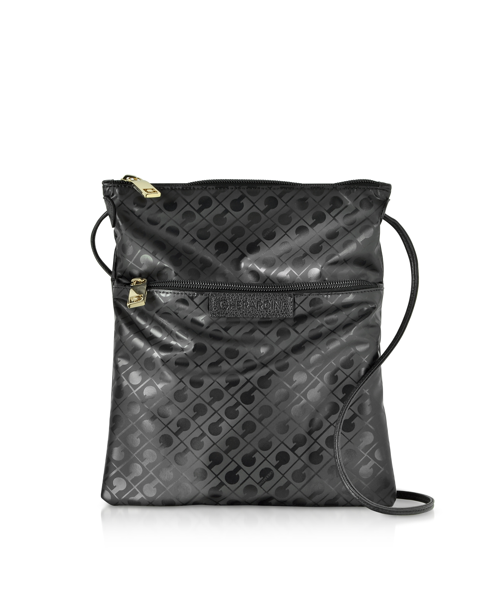 Image of Gherardini Designer Handbags, Black Signature Coated Canvas and Leather Softy Crossbody Bag w/Zip Front Pocket