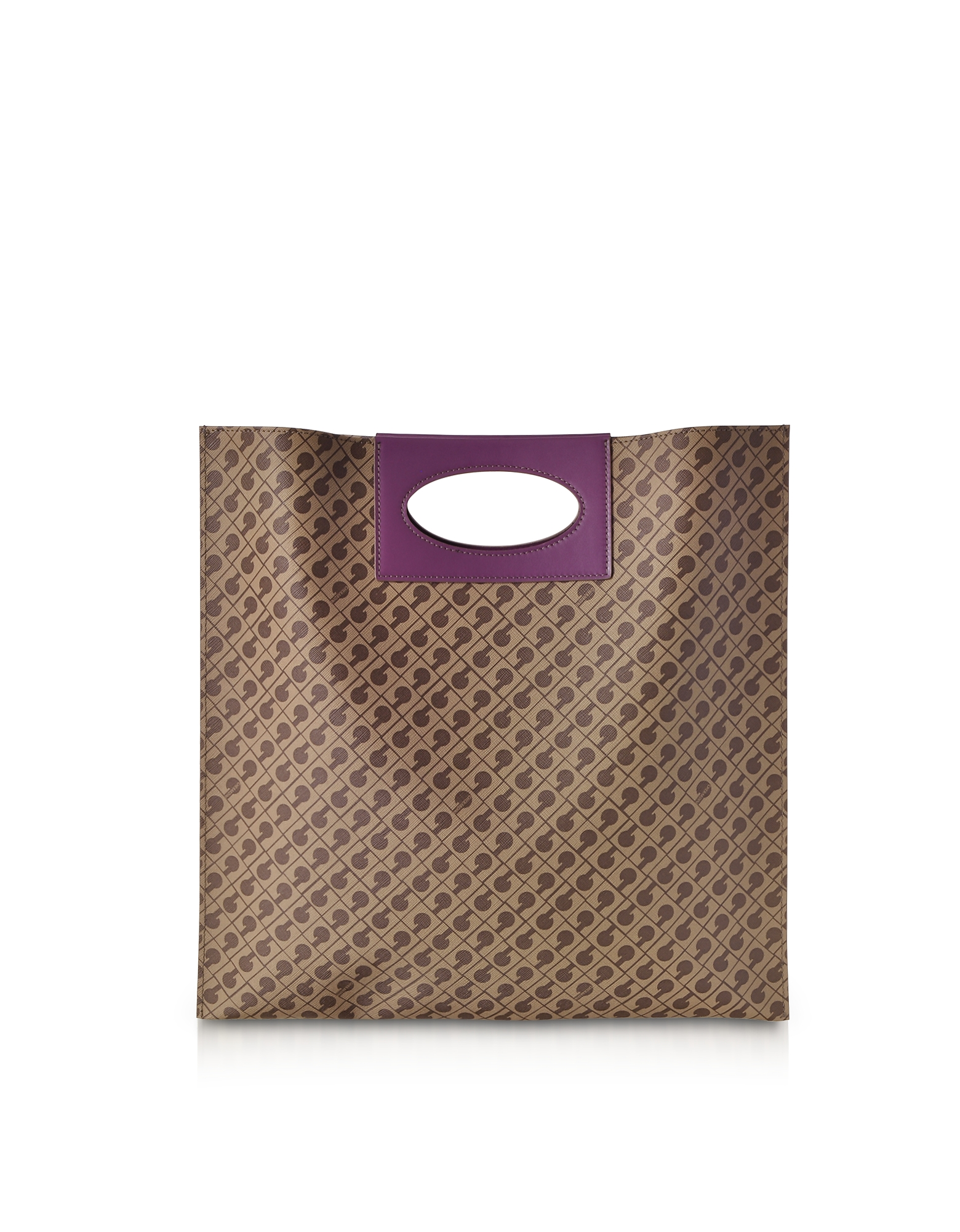 Image of Gherardini Designer Handbags, Millerighe Mystic Purple Signature Flat Tote Bag