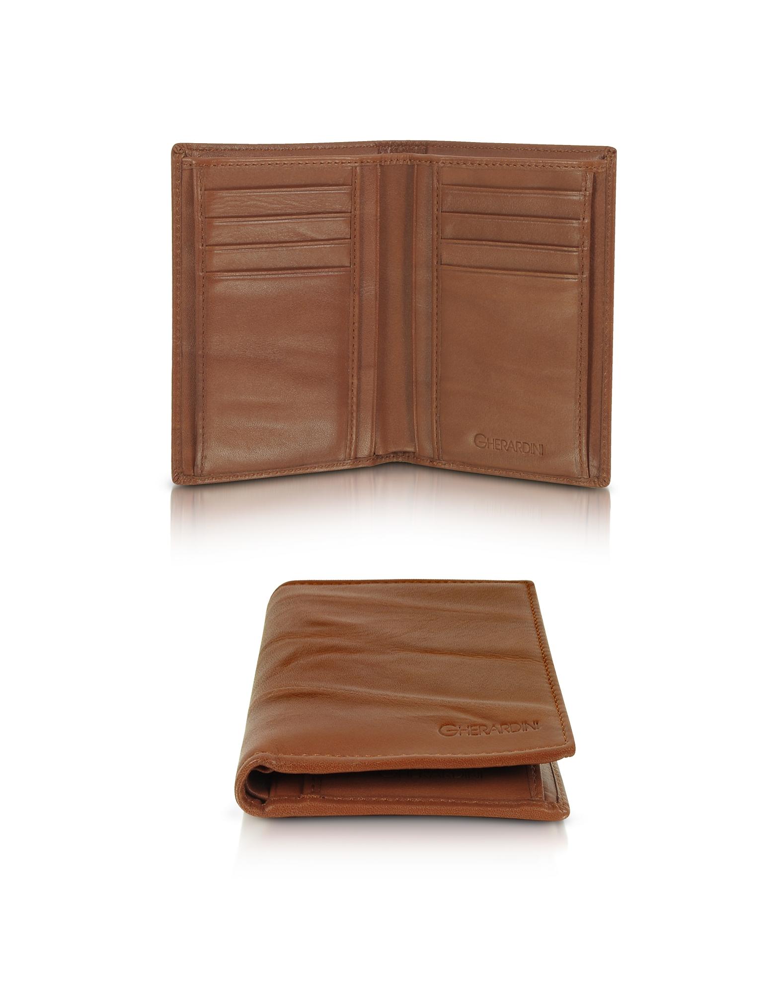 Pleated Leather Men's Vertical Wallet, Cognac