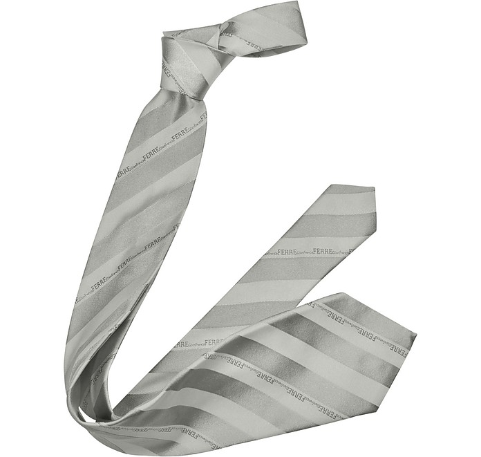 Wide Signature Stripe Woven Silk Tie - Gianfranco Ferre
