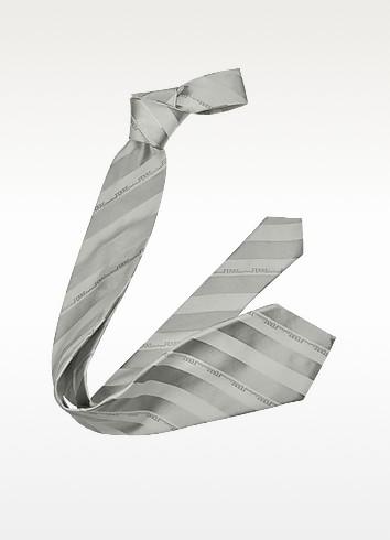 Wide Signature Stripe Woven Silk Tie - Gianfranco Ferre