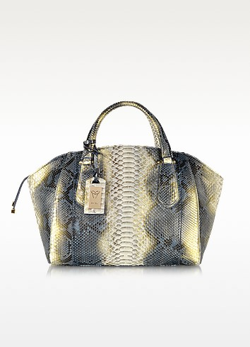 Python Leather Zippered Tote - Ghibli