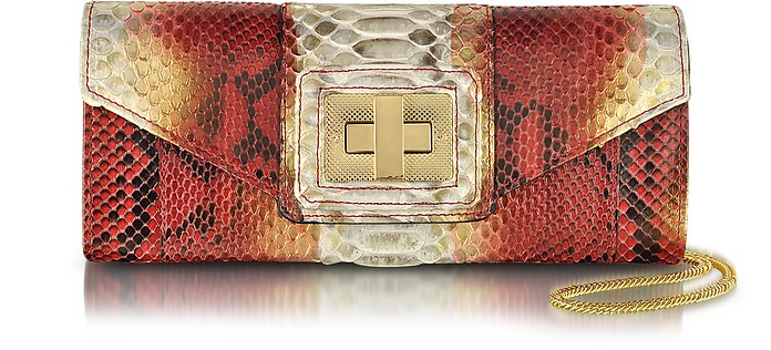 Chic Python Leather Clutch w/Chain Strap - Ghibli