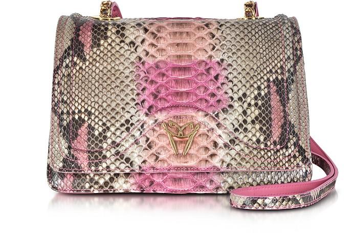 Pink Python and Leather Crossbody Bag - Ghibli