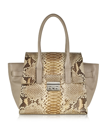 Gray Python and Leather Satchel