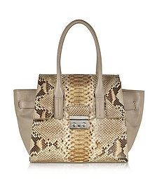 Gray Python and Leather Satchel - Ghibli