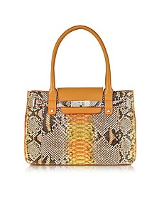 Orange and Yellow Python and Leather Large Satchel - Ghibli