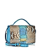 Blue Python and Leather Crossbody Bag - Ghibli