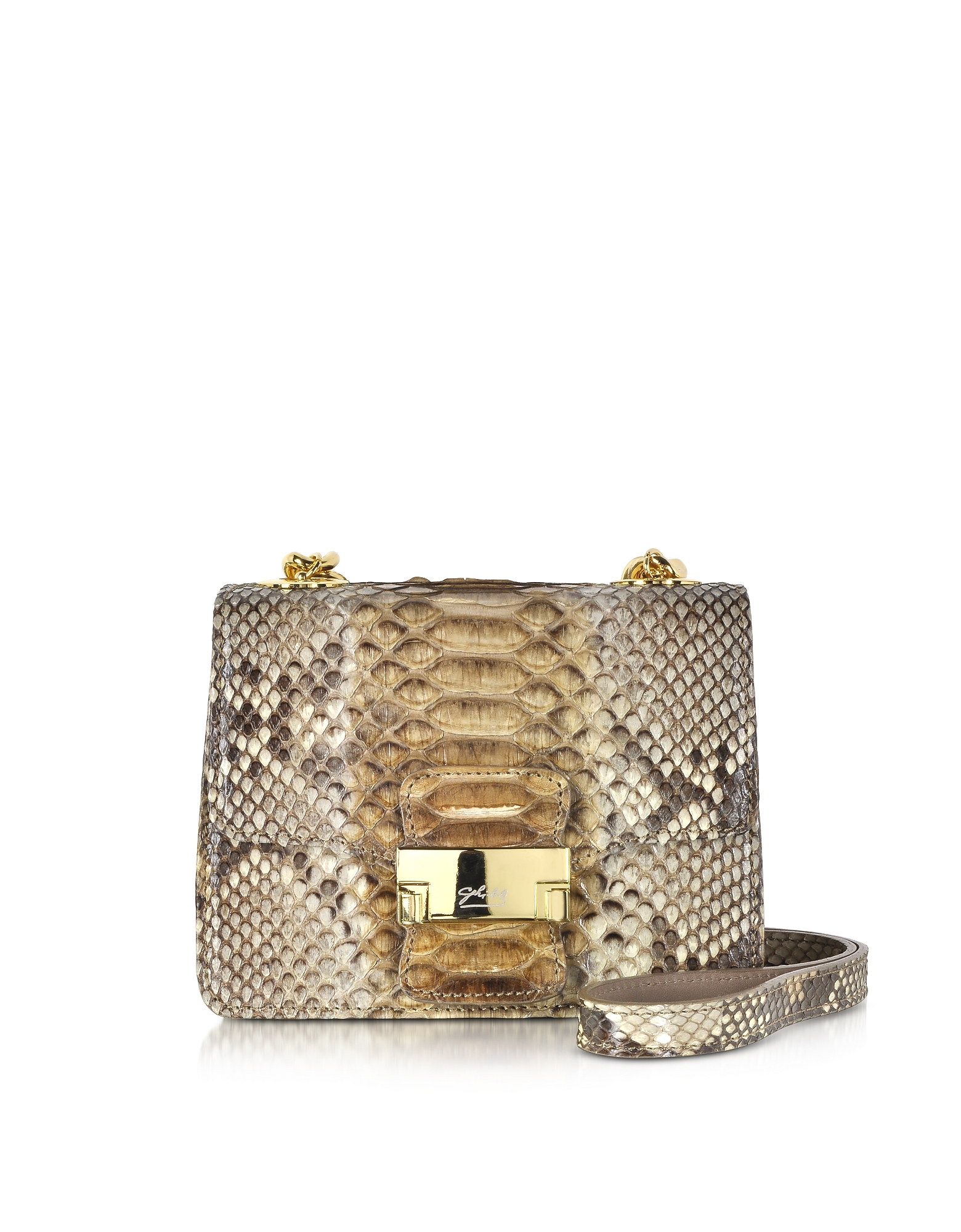 Ghibli Handbags, Brown Python Mini Crossbody Bag