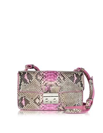Pink Python and Leather Crossbody Bag