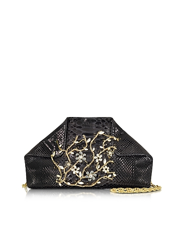 Ghibli - Black Python Shoulder Bag w/Crystals