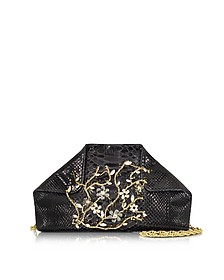 Black Python Shoulder Bag w/Crystals - Ghibli