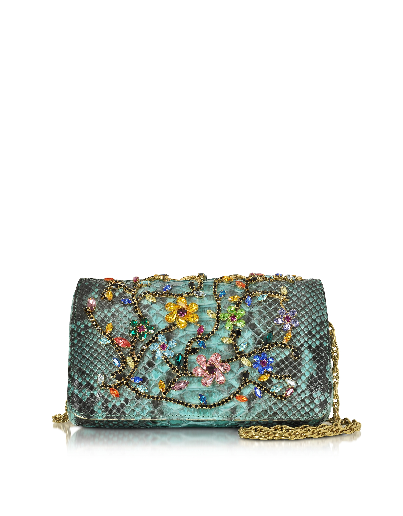 Ghibli Handbags, Turquoise Python Mini Crossbody Bag w/Multicolor Crystals