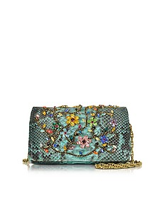 Turquoise Python Mini Crossbody Bag w/Multicolor Crystals - Ghibli