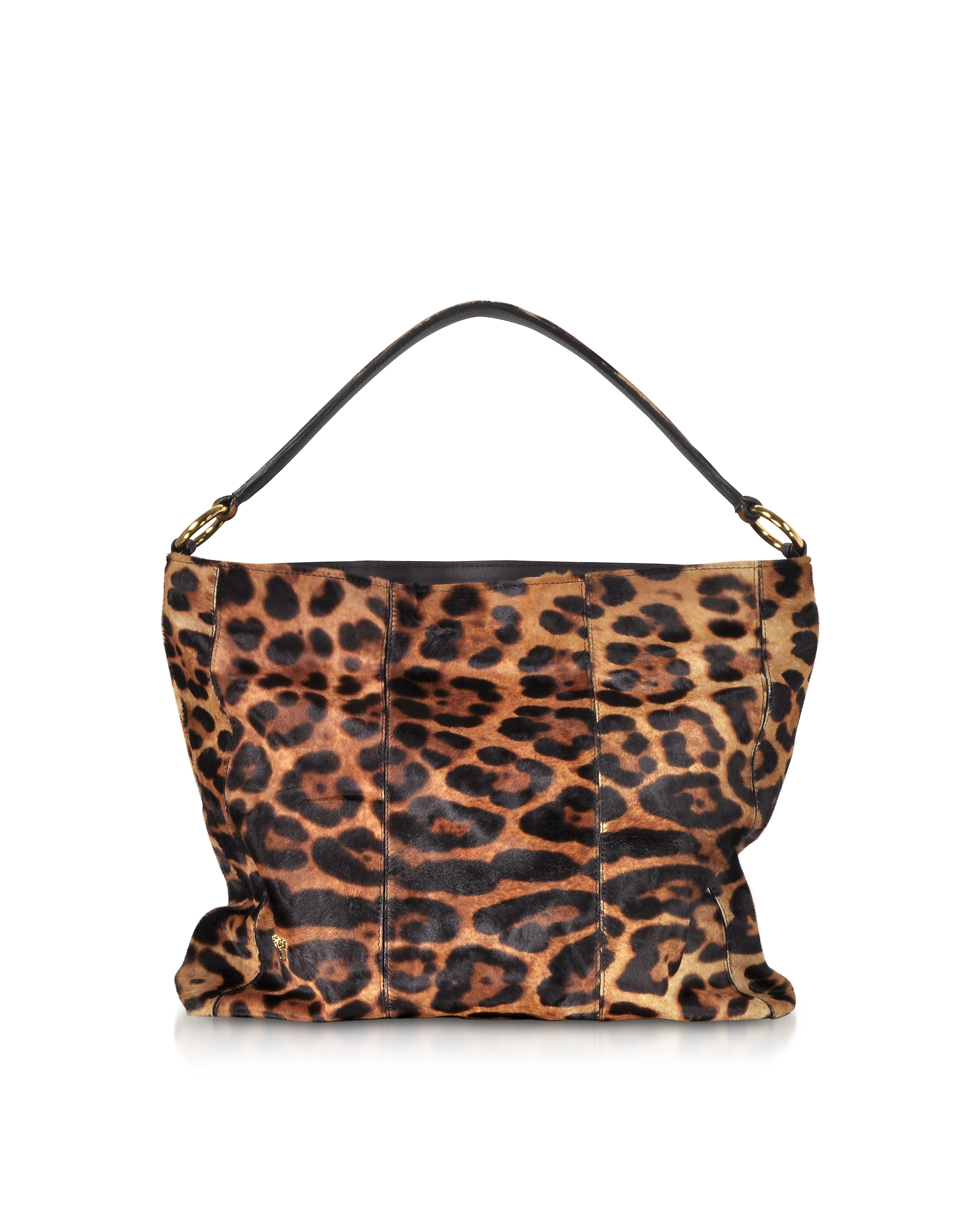 Leopard Printed Haircalf Leather Shoulder Bag
