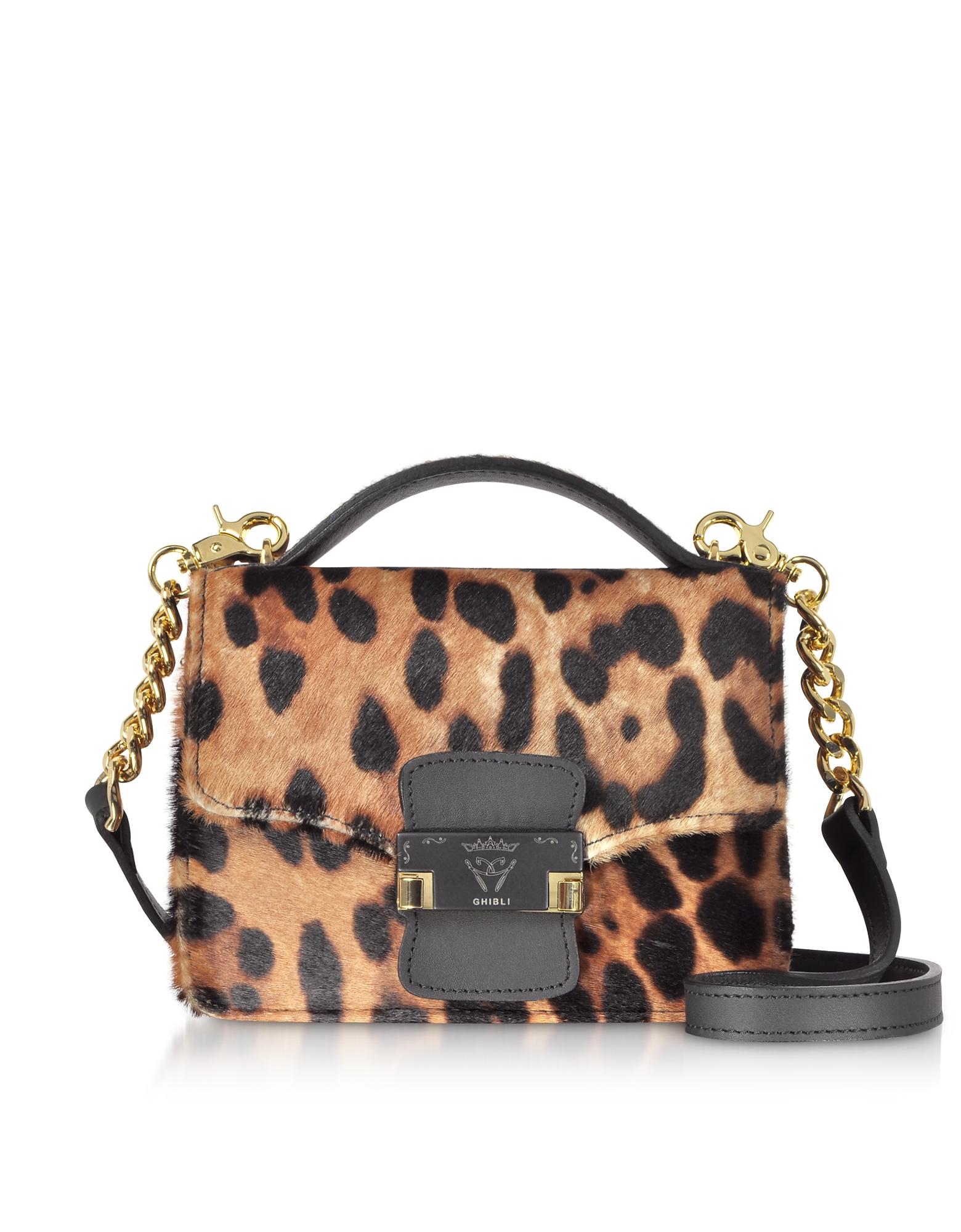 Ghibli Handbags, Leopard Printed Haircalf Leather Small Shoulder Bag