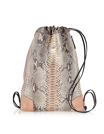 Pearl Gray and Pale Pink Python Leather