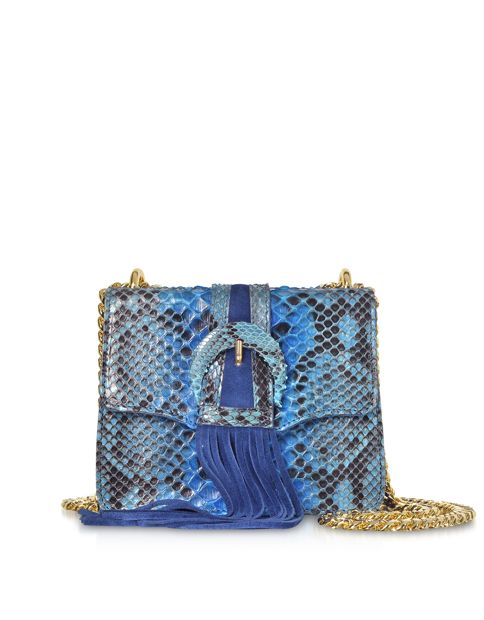 Deep Blue Python leather Small Shoulder Bag w/Buckle