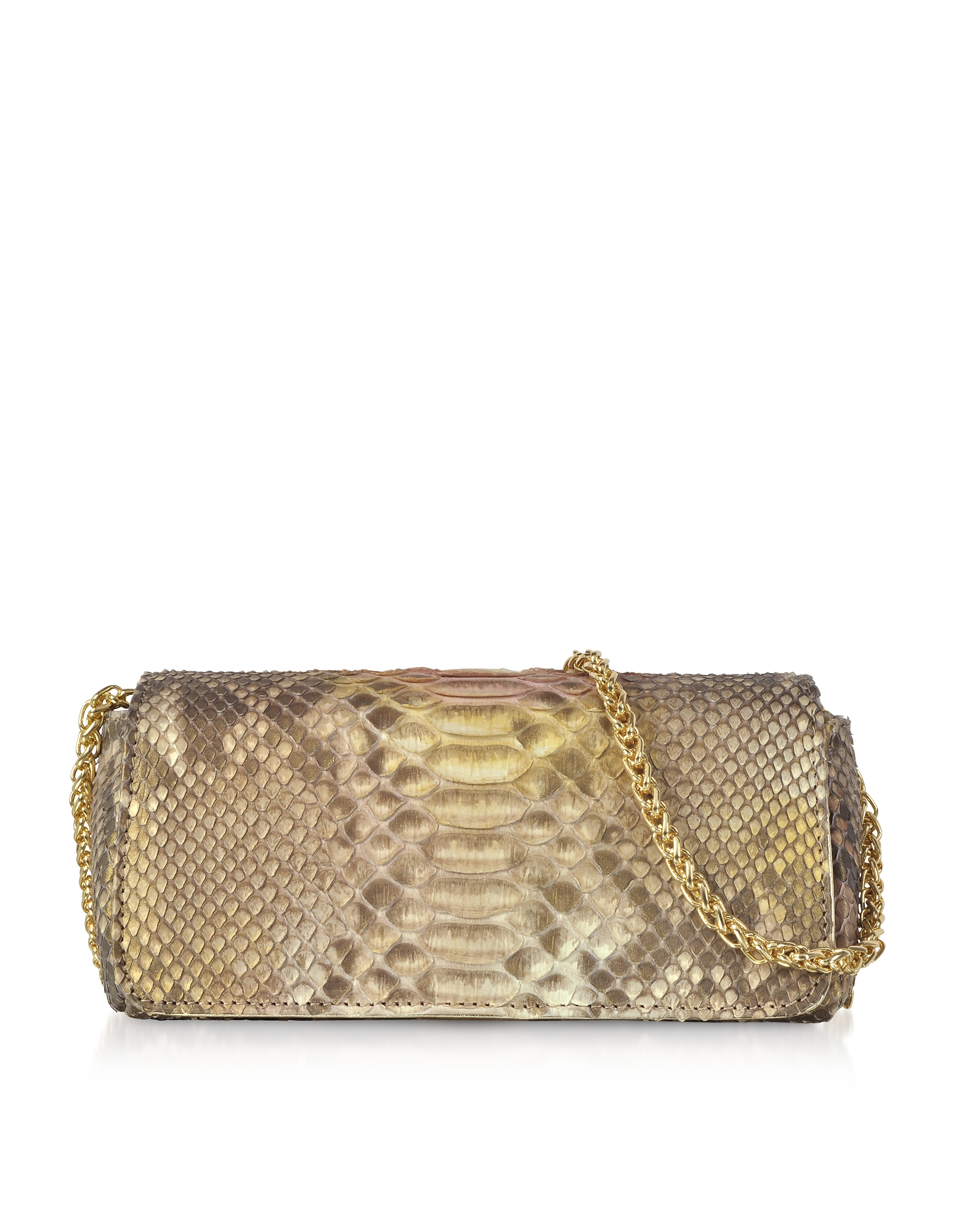 Golden Python Leather Small Shoulder Bag