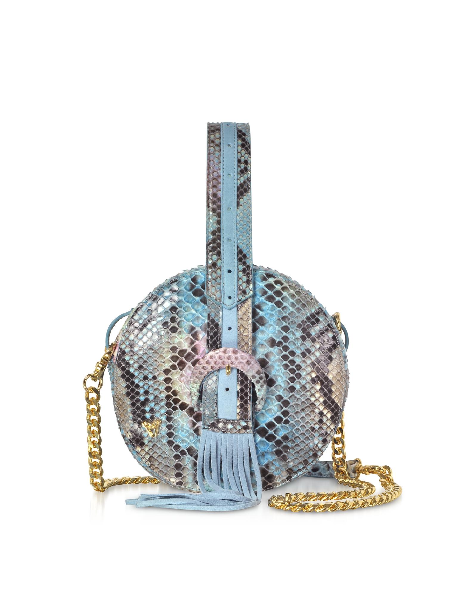 Sky Blue Python Round Crossbody Bag W/Fringes