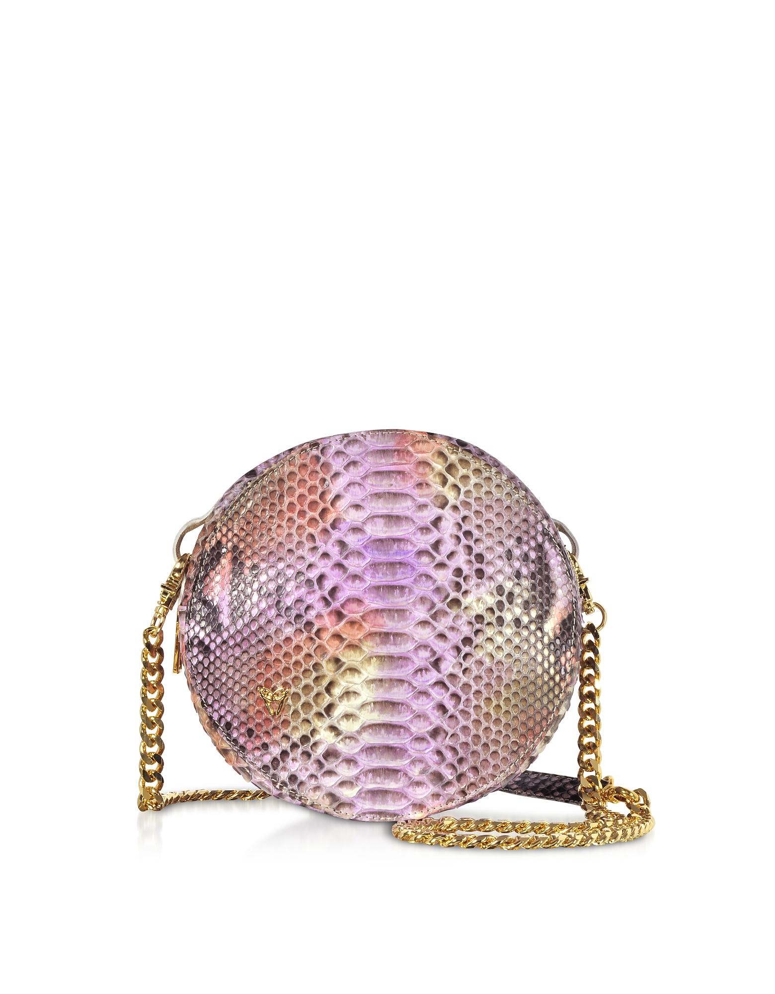 Lilac Python Round Crossbody Bag
