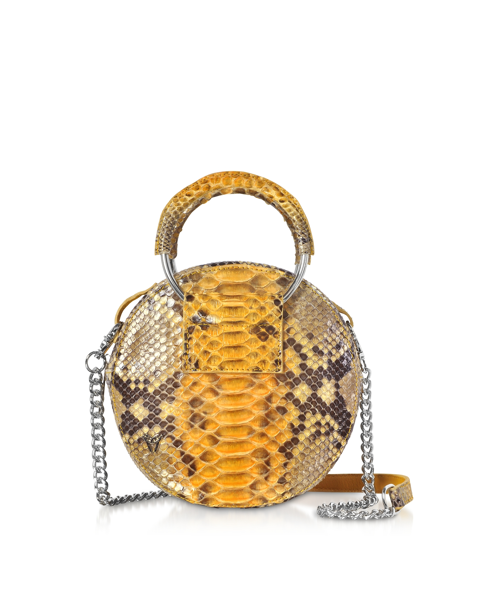 Saffron Yellow Python Round Crossbody Bag w/Metal Handles