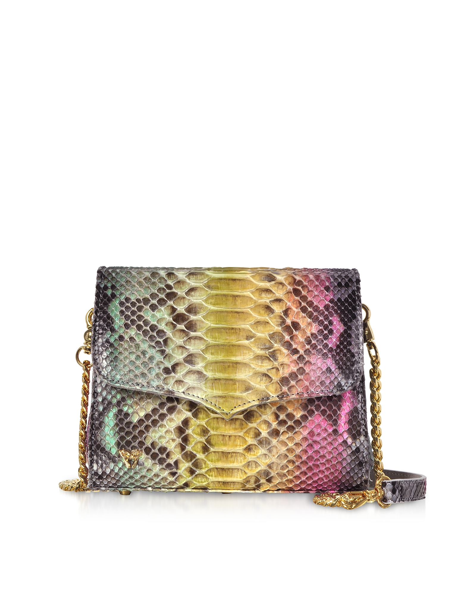 Multicolor Python Leather Shoulder Bag