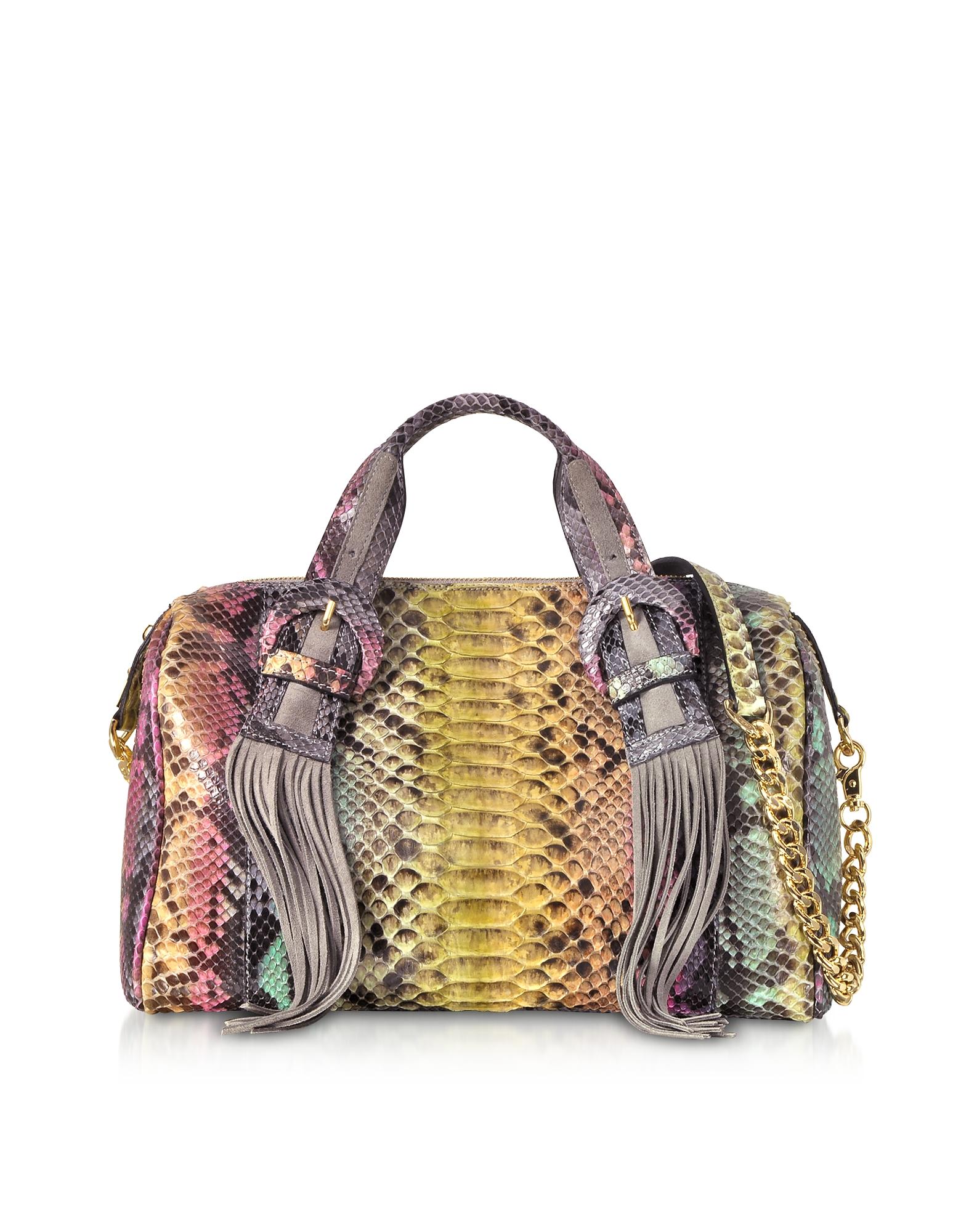 Multicolor Python Leather Shoulder Bag