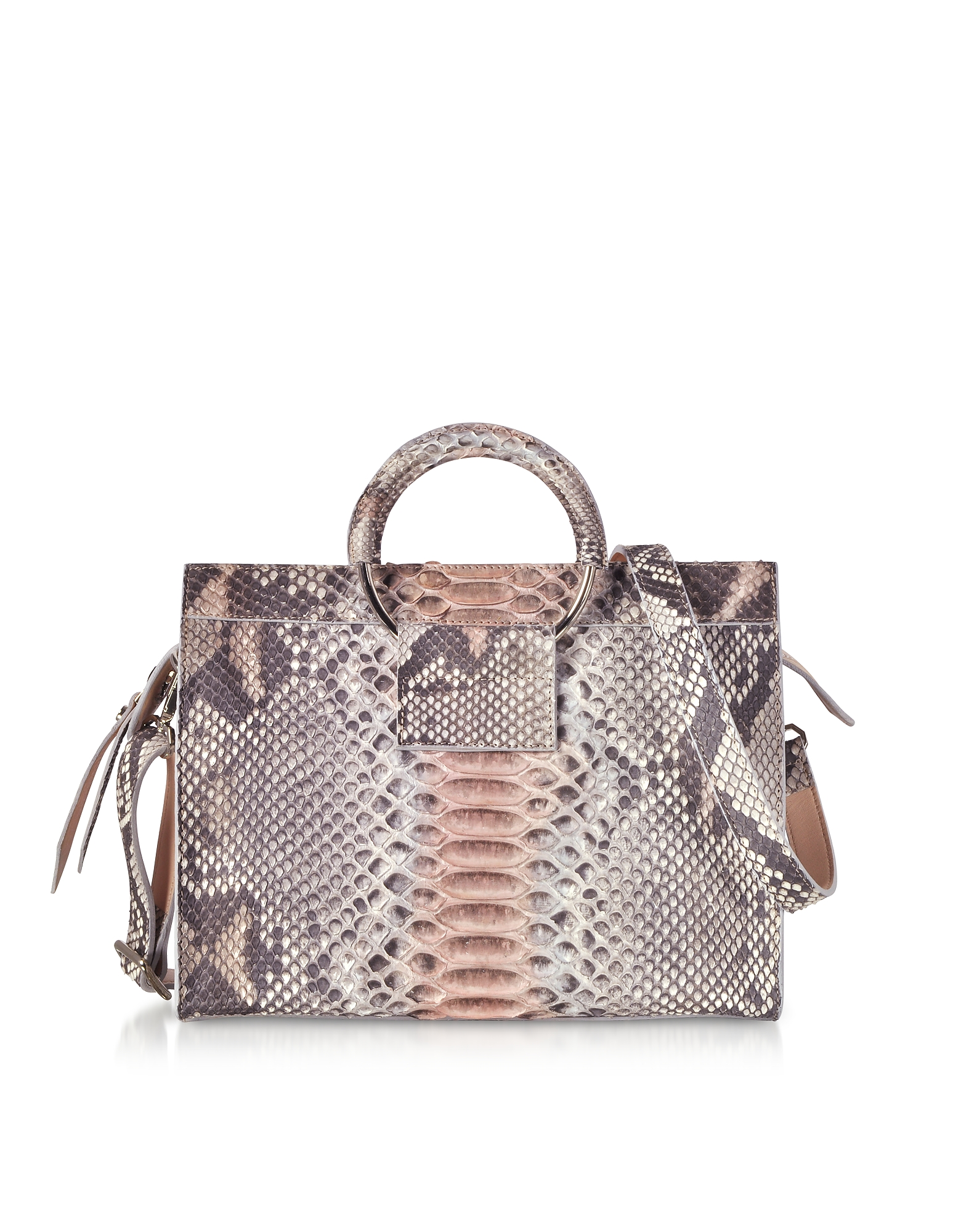 Pearl Gray and Pale Pink Python Leather Small Satchel Bag w/Metal Handles