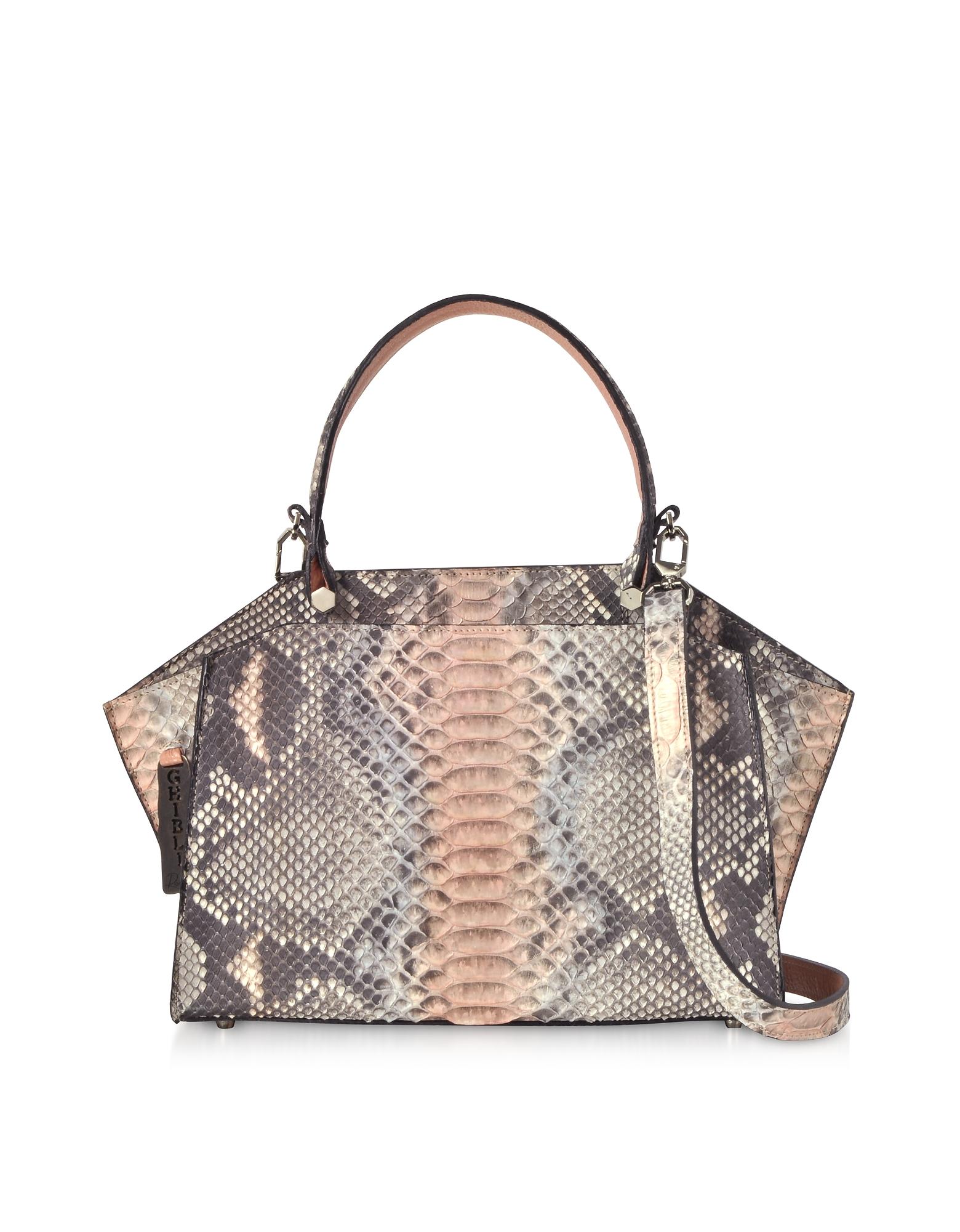 Ghibli Handbags, Pearl Gray and Pale Pink Python Leather Top Handle Satchel Bag