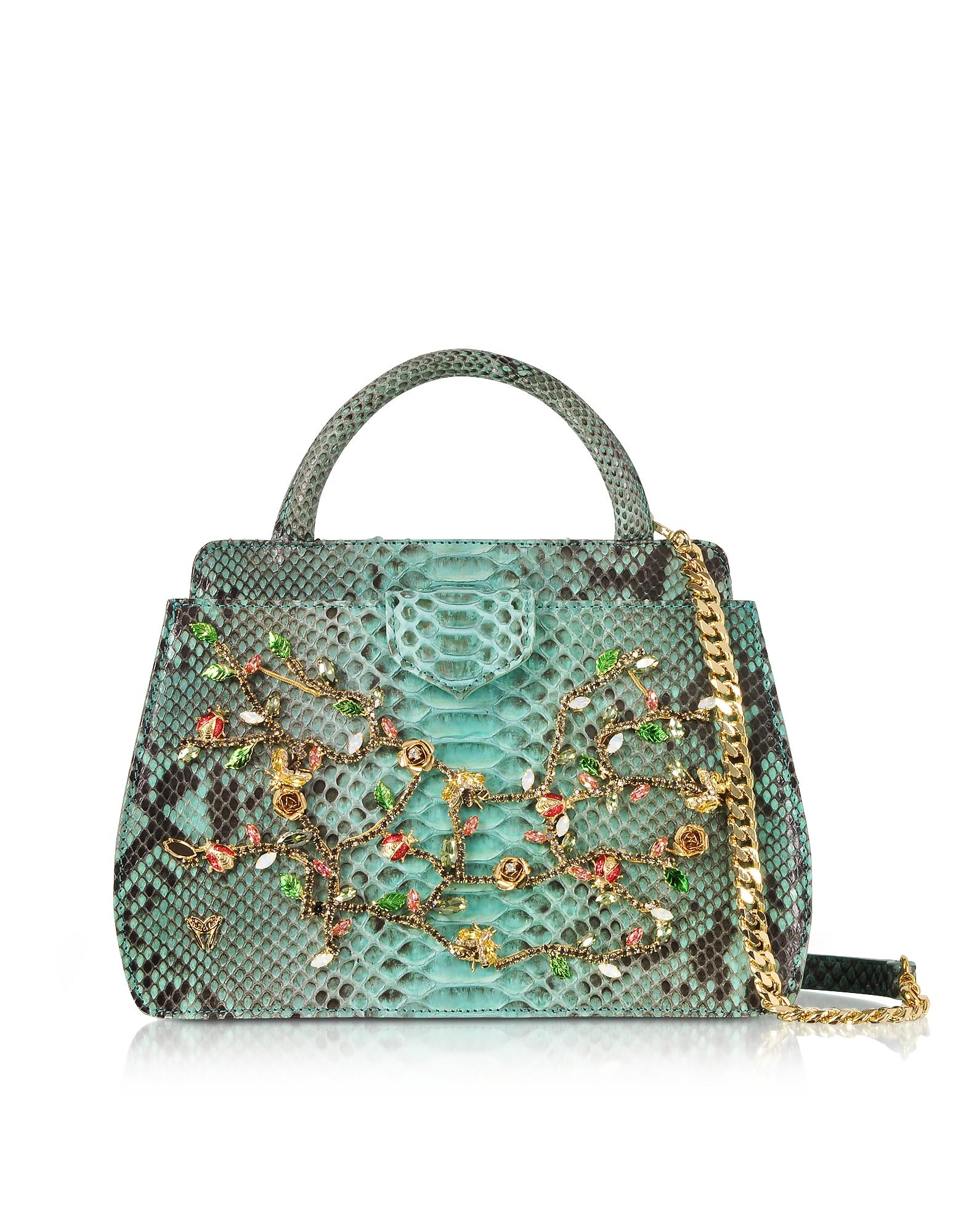 Ghibli Handbags, Aquamarine Python and Crystals Top-Handle Satchel Bag