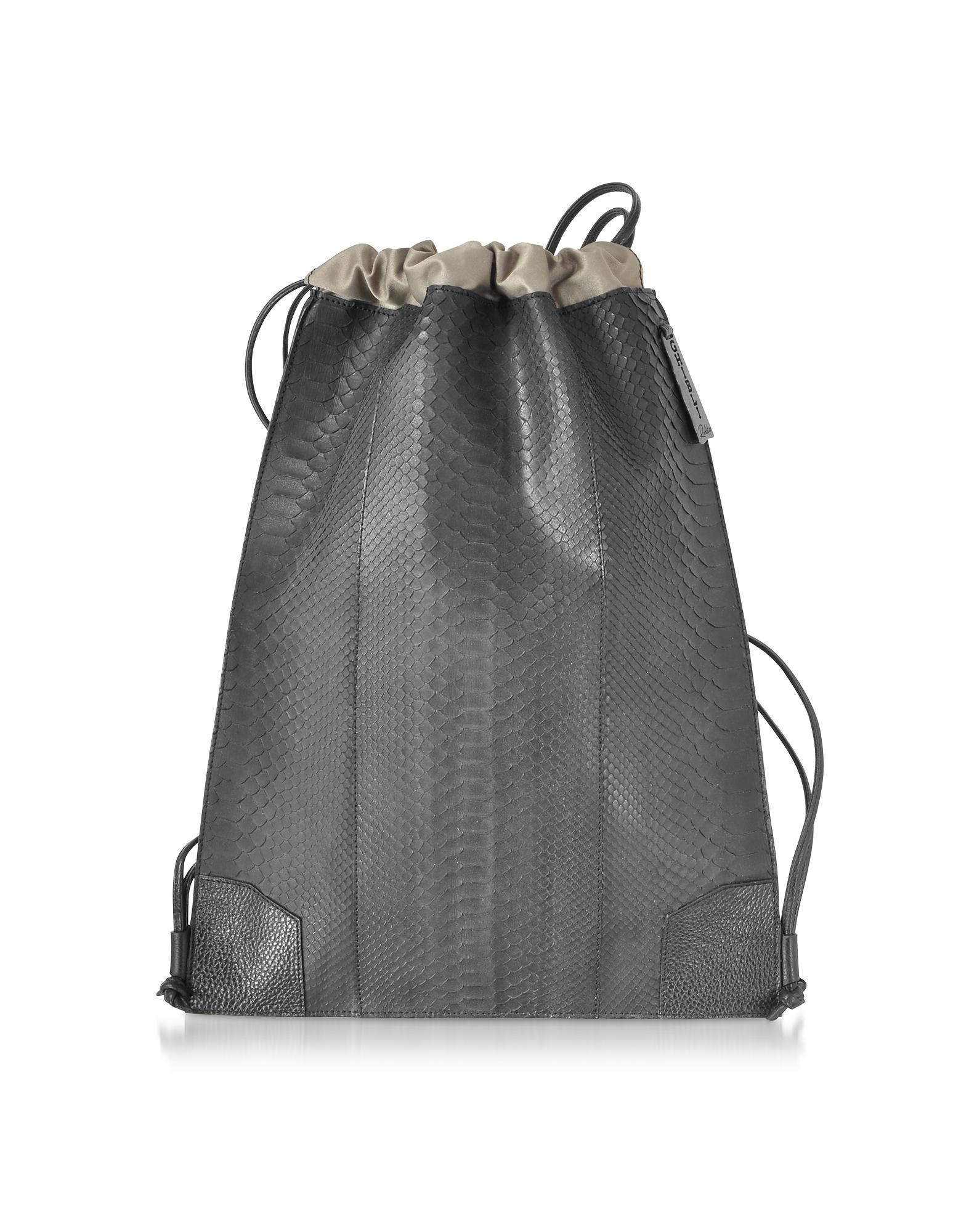 Ghibli Designer Handbags, Python and Calf Leather Backpack