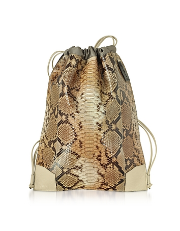 Python and Calf Leather Backpack