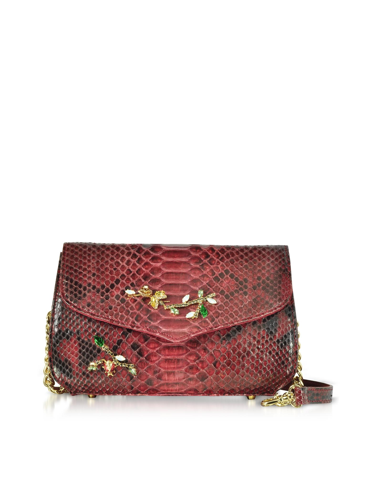 Ghibli Designer Handbags, Ruby Red Python Leather Medium Shoulder Bag w/Crystals