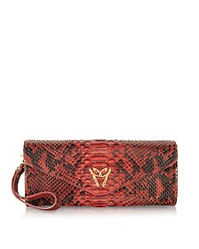 Red Python Leather Clutch w/Wristelet - Ghibli